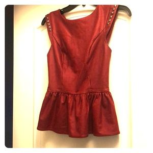 Guess brick red faux leather top